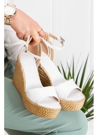 Derithy Vınle Dolgu Topuklu Ayakkabı -Mınt Yeşılı-Lzt0590 Beyaz